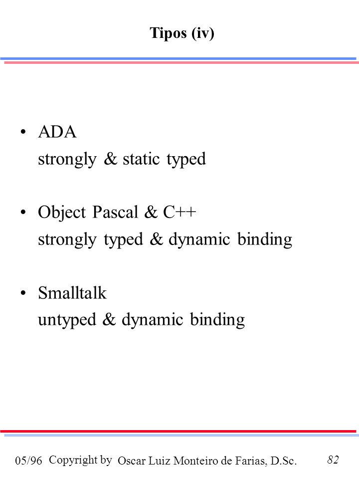 strongly & static typed Object Pascal & C++