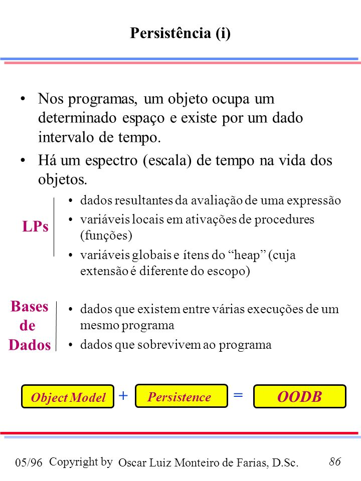 Persistência (i) LPs Bases de Dados + = OODB