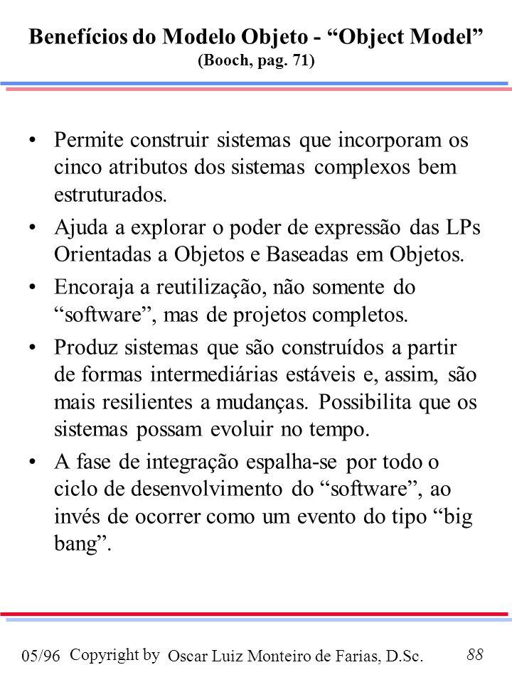 Benefícios do Modelo Objeto - Object Model (Booch, pag. 71)