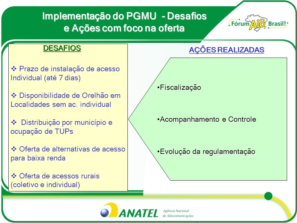 Implementação do PGMU - Desafios e Ações com foco na oferta