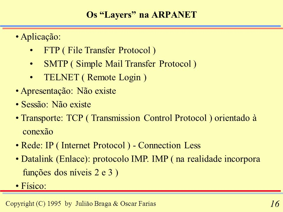 Os Layers na ARPANET Aplicação: FTP ( File Transfer Protocol ) SMTP ( Simple Mail Transfer Protocol )