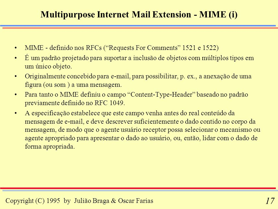Multipurpose Internet Mail Extension - MIME (i)