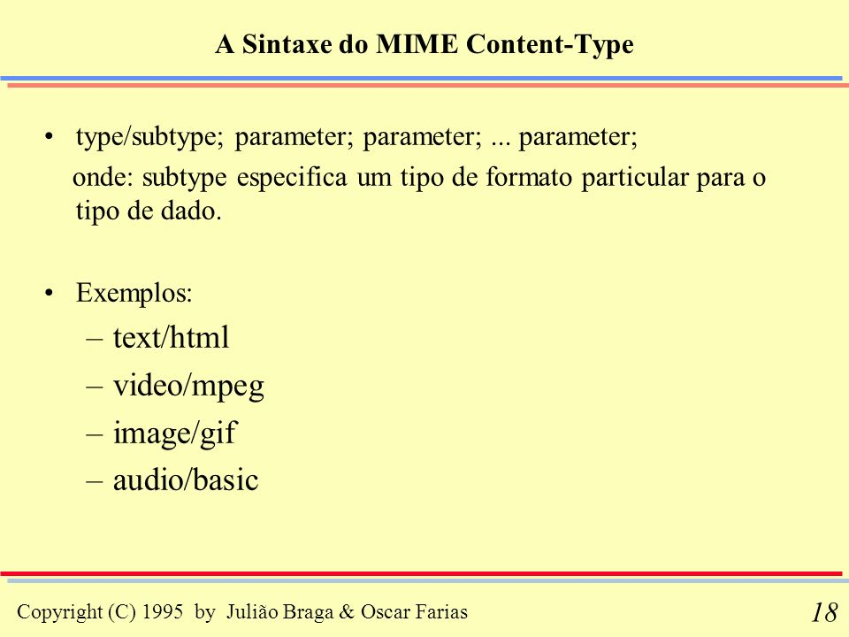 A Sintaxe do MIME Content-Type