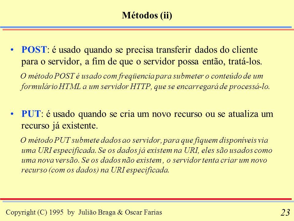 Métodos (ii) POST: é usado quando se precisa transferir dados do cliente para o servidor, a fim de que o servidor possa então, tratá-los.