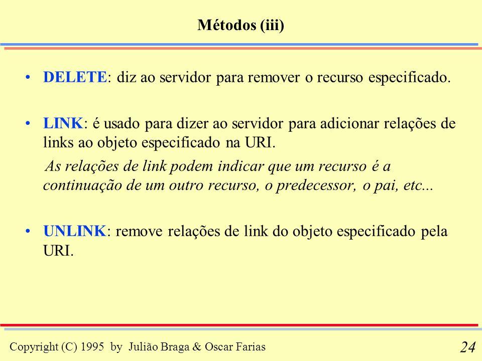 Métodos (iii) DELETE: diz ao servidor para remover o recurso especificado.