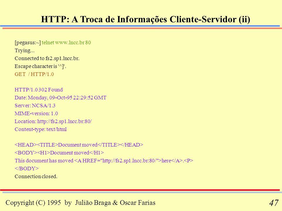 HTTP: A Troca de Informações Cliente-Servidor (ii)
