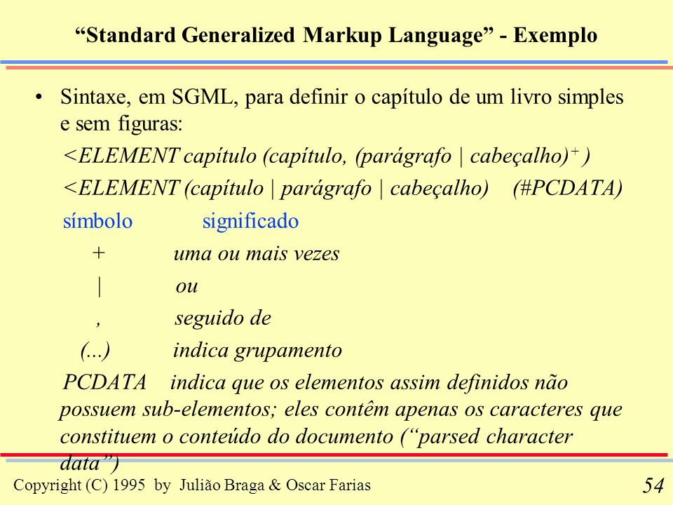 Standard Generalized Markup Language - Exemplo