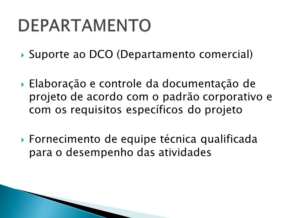 DEPARTAMENTO Suporte ao DCO (Departamento comercial)