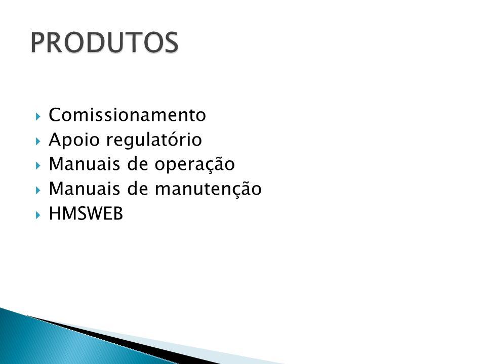 PRODUTOS Comissionamento Apoio regulatório Manuais de operação