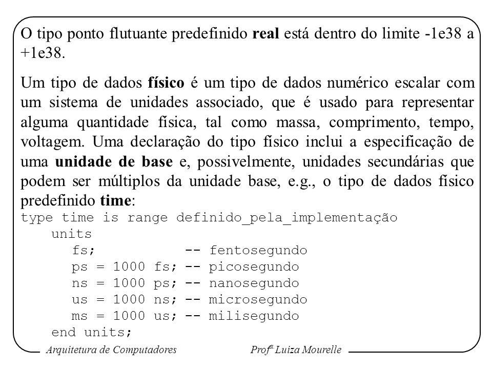 O tipo ponto flutuante predefinido real está dentro do limite -1e38 a +1e38.