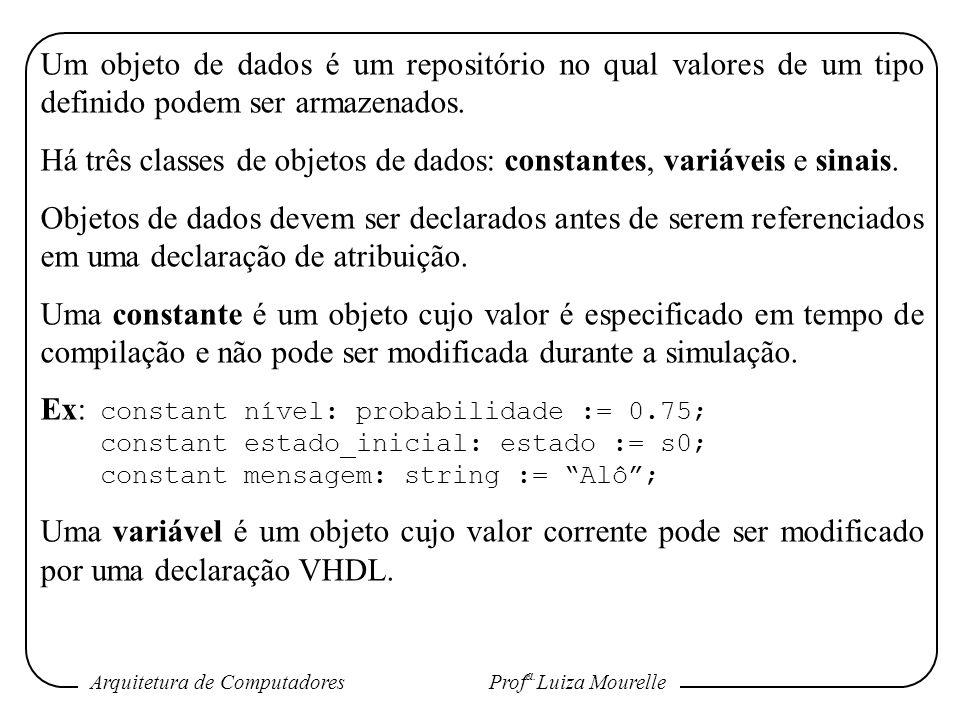 Há três classes de objetos de dados: constantes, variáveis e sinais.