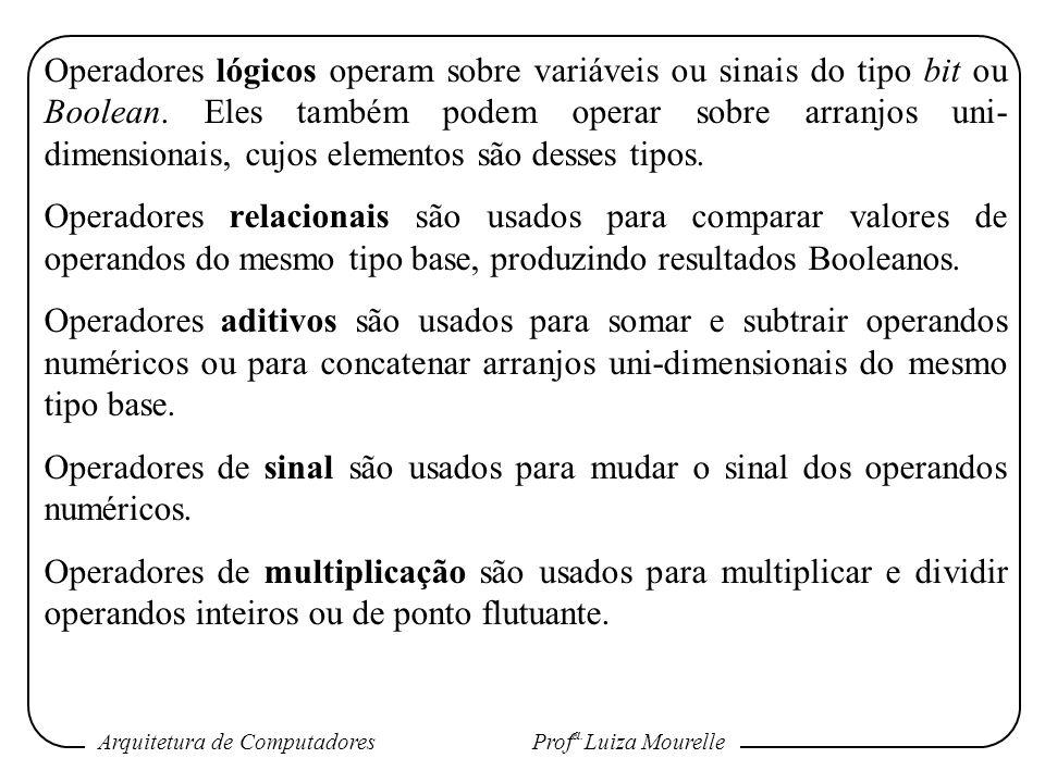 Operadores lógicos operam sobre variáveis ou sinais do tipo bit ou Boolean. Eles também podem operar sobre arranjos uni-dimensionais, cujos elementos são desses tipos.