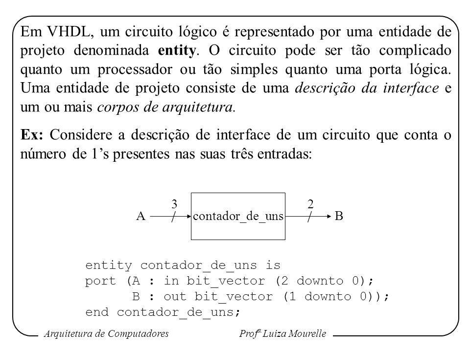 Em VHDL, um circuito lógico é representado por uma entidade de projeto denominada entity. O circuito pode ser tão complicado quanto um processador ou tão simples quanto uma porta lógica. Uma entidade de projeto consiste de uma descrição da interface e um ou mais corpos de arquitetura.