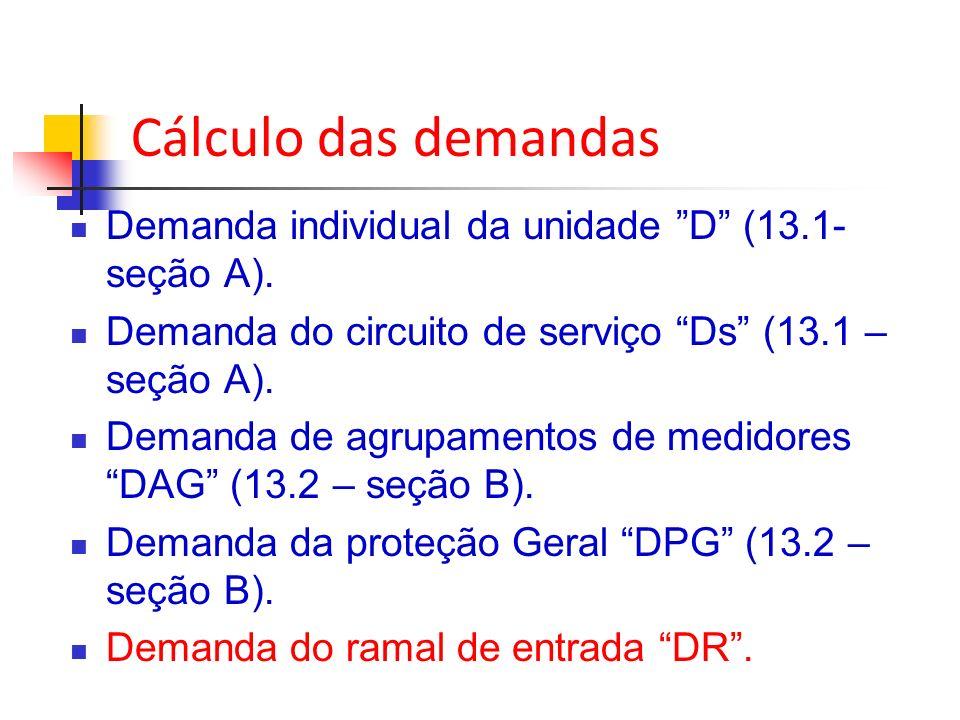 Cálculo das demandas Demanda individual da unidade D (13.1-seção A).
