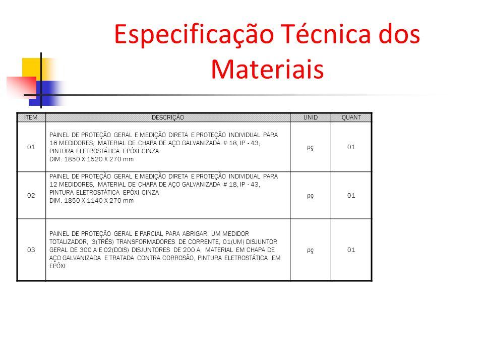 Especificação Técnica dos Materiais