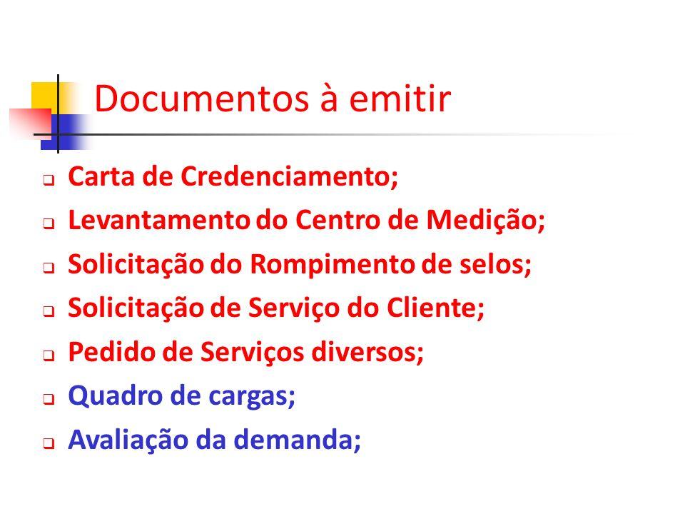 Documentos à emitir Carta de Credenciamento;