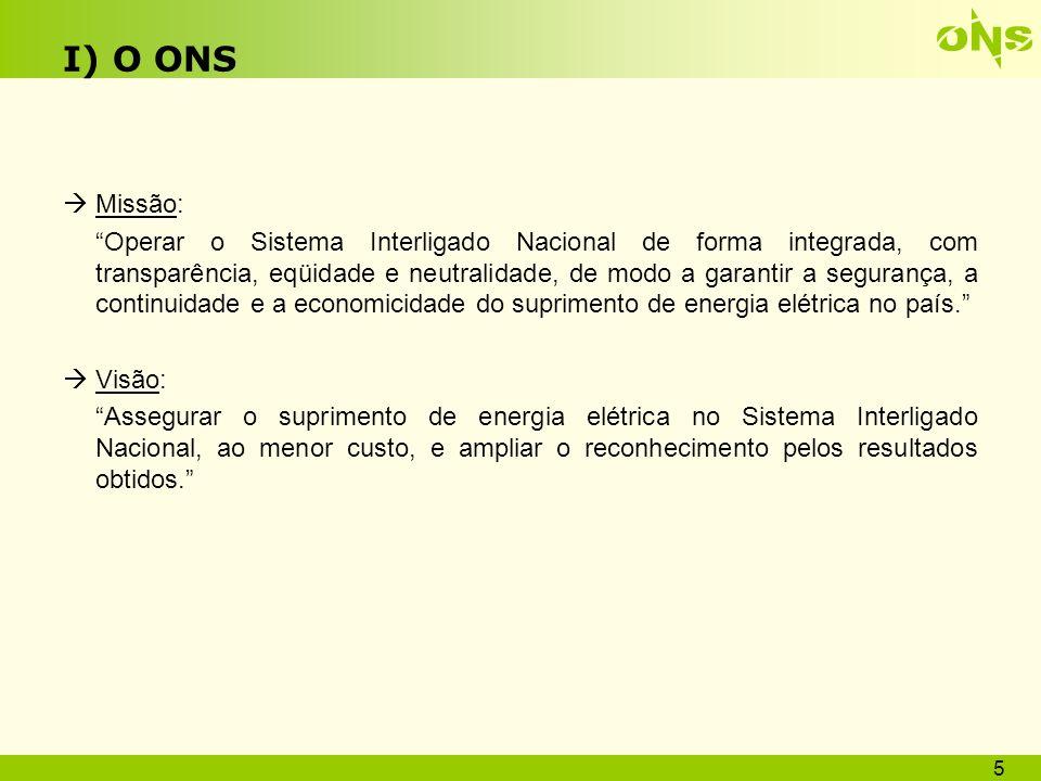 I) O ONS Missão: