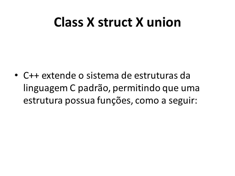 Class X struct X union C++ extende o sistema de estruturas da linguagem C padrão, permitindo que uma estrutura possua funções, como a seguir:
