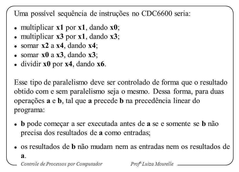 Uma possível sequência de instruções no CDC6600 seria: