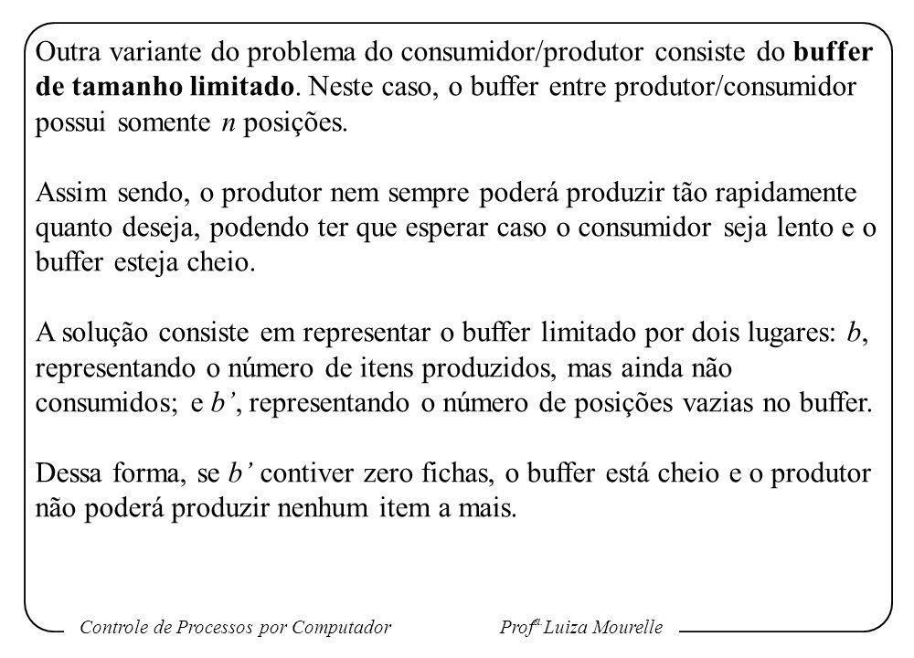 Outra variante do problema do consumidor/produtor consiste do buffer de tamanho limitado. Neste caso, o buffer entre produtor/consumidor possui somente n posições.