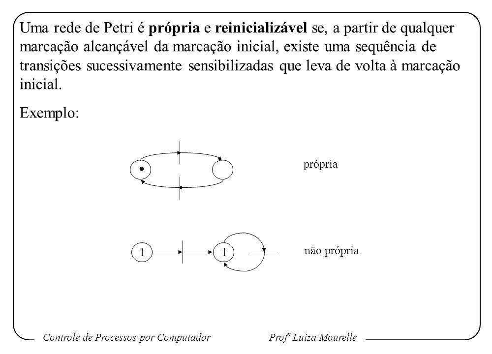 Uma rede de Petri é própria e reinicializável se, a partir de qualquer marcação alcançável da marcação inicial, existe uma sequência de transições sucessivamente sensibilizadas que leva de volta à marcação inicial.