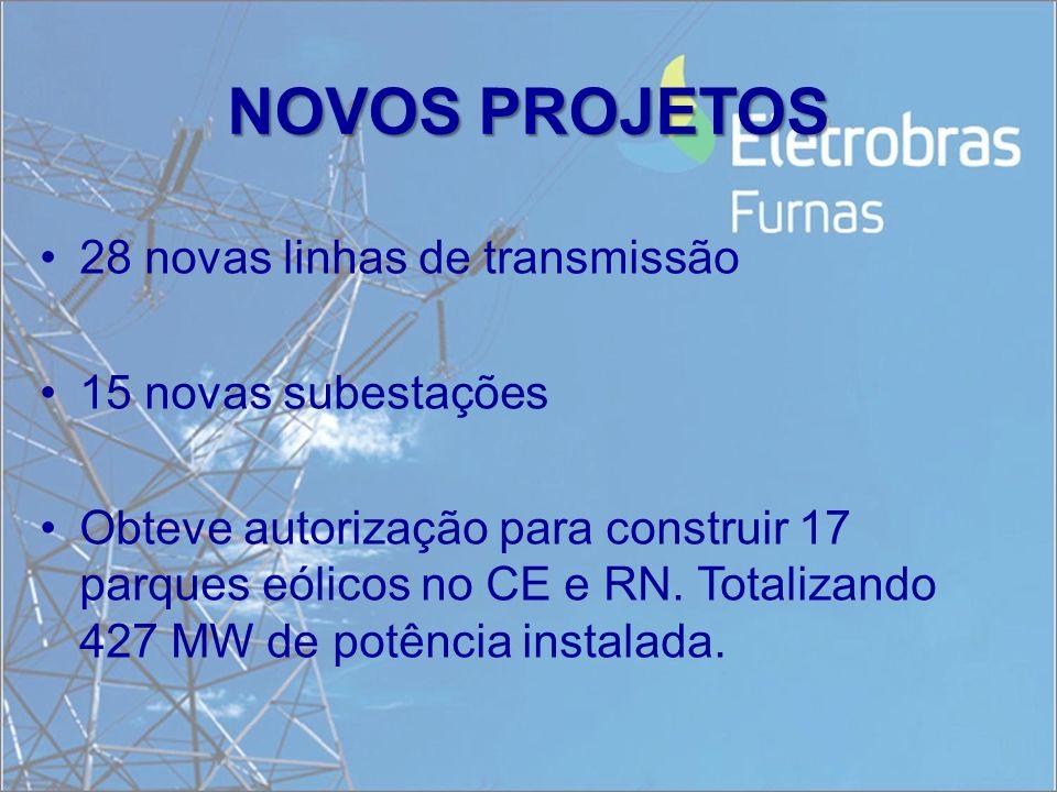 NOVOS PROJETOS 28 novas linhas de transmissão 15 novas subestações
