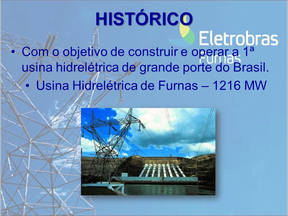 HISTÓRICO Com o objetivo de construir e operar a 1ª usina hidrelétrica de grande porte do Brasil.