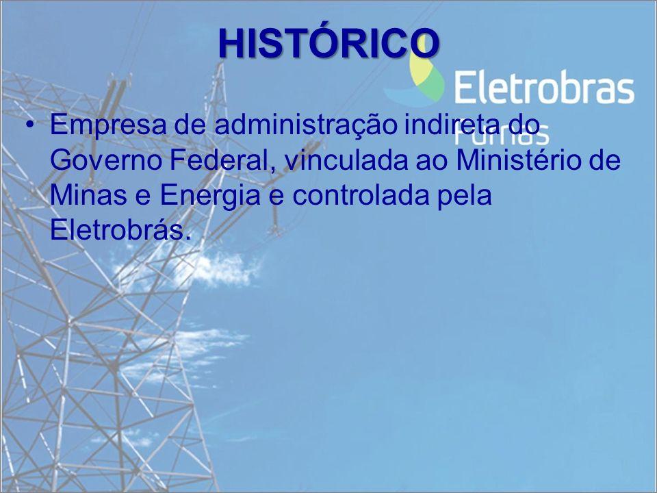 HISTÓRICO Empresa de administração indireta do Governo Federal, vinculada ao Ministério de Minas e Energia e controlada pela Eletrobrás.
