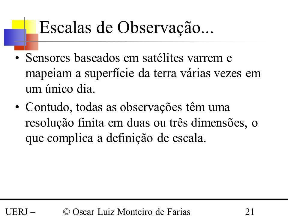 Escalas de Observação... Sensores baseados em satélites varrem e mapeiam a superfície da terra várias vezes em um único dia.