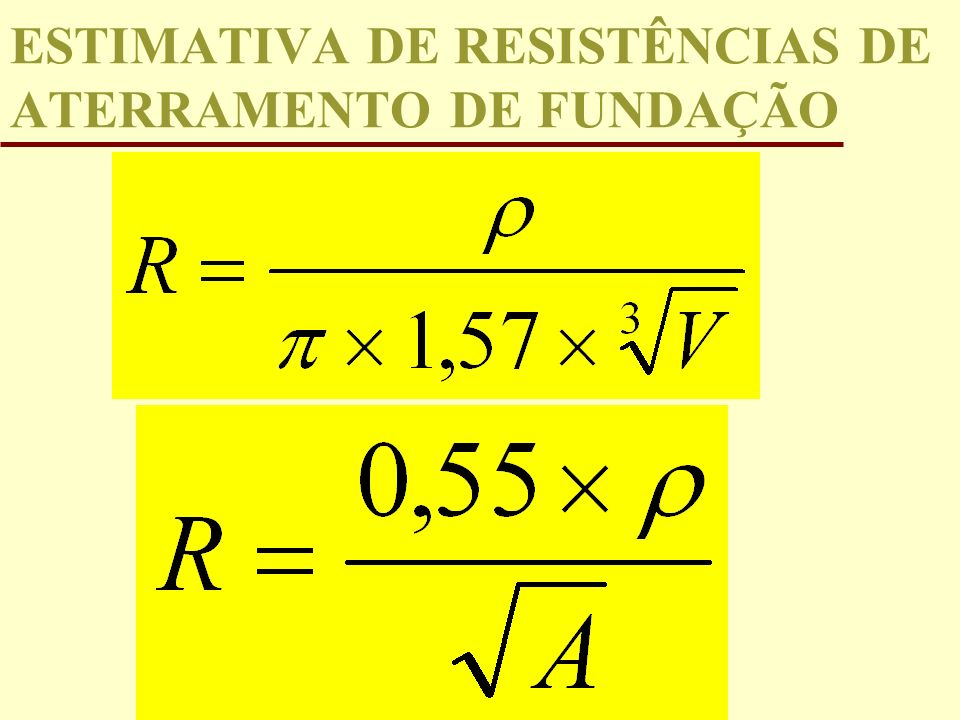 ESTIMATIVA DE RESISTÊNCIAS DE ATERRAMENTO DE FUNDAÇÃO