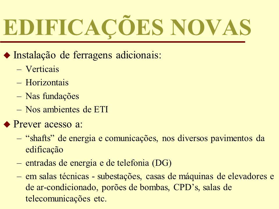EDIFICAÇÕES NOVAS Instalação de ferragens adicionais: Prever acesso a: