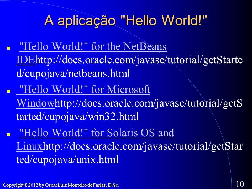 A aplicação Hello World!