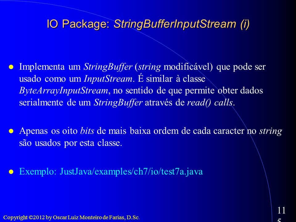 IO Package: StringBufferInputStream (i)‏
