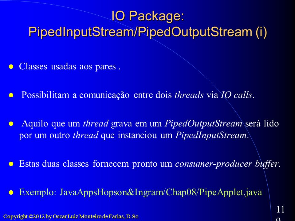 IO Package: PipedInputStream/PipedOutputStream (i)