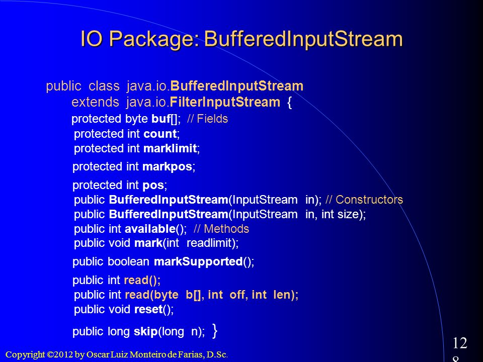IO Package: BufferedInputStream