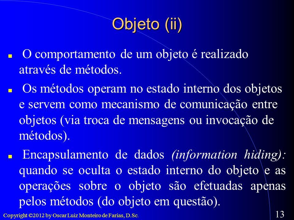 Objeto (ii) O comportamento de um objeto é realizado através de métodos.