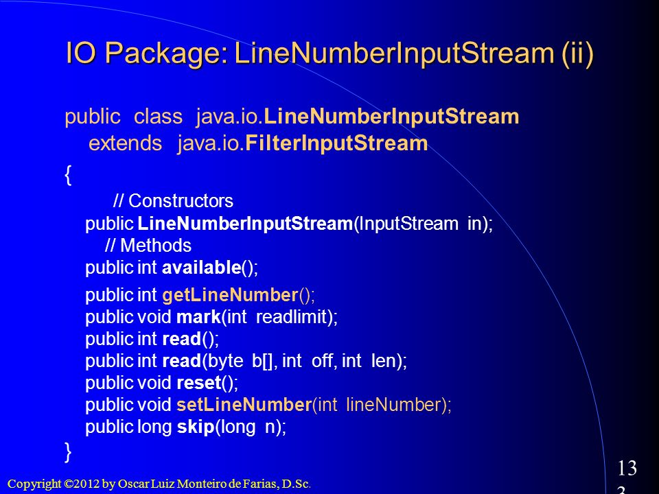 IO Package: LineNumberInputStream (ii)‏