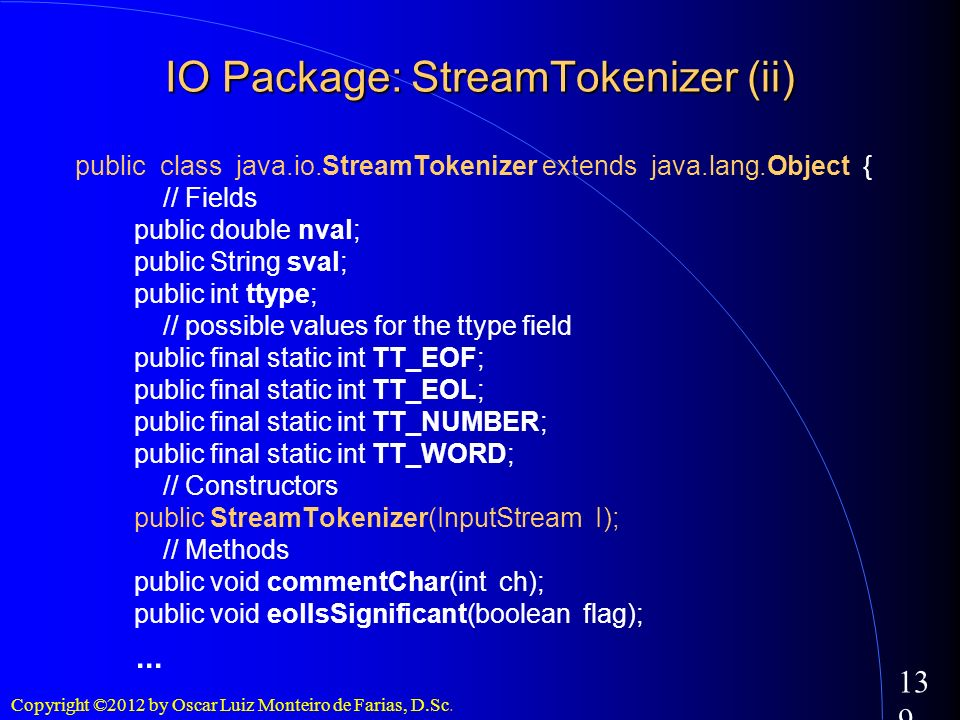IO Package: StreamTokenizer (ii)‏