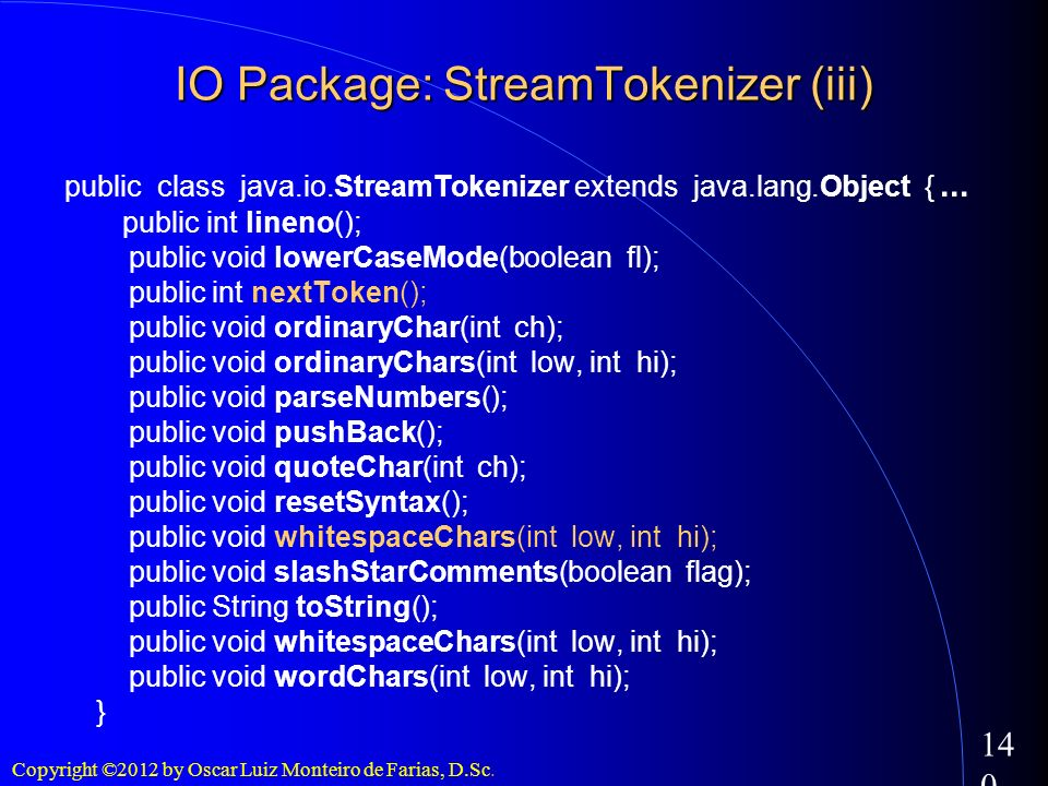 IO Package: StreamTokenizer (iii)‏