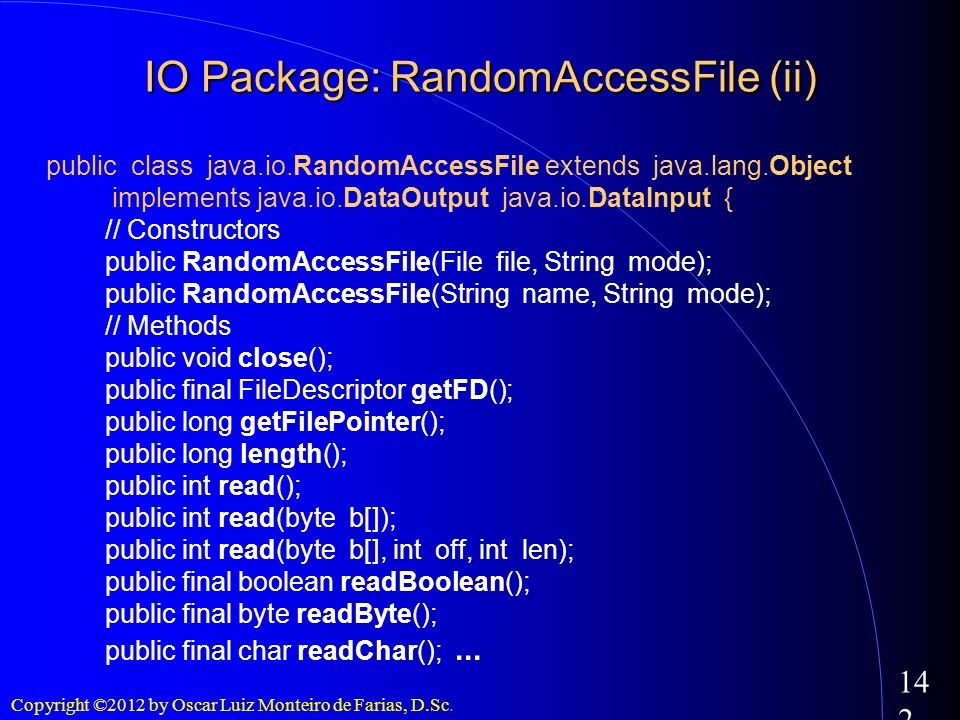 IO Package: RandomAccessFile (ii)‏