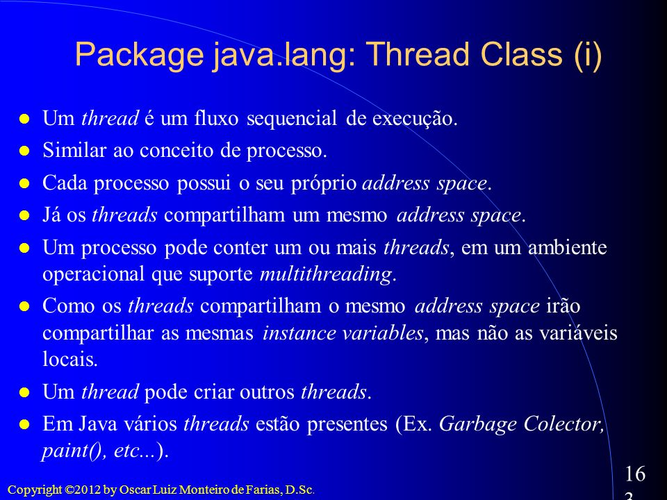 Package java.lang: Thread Class (i)‏