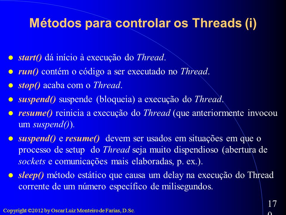 Métodos para controlar os Threads (i)