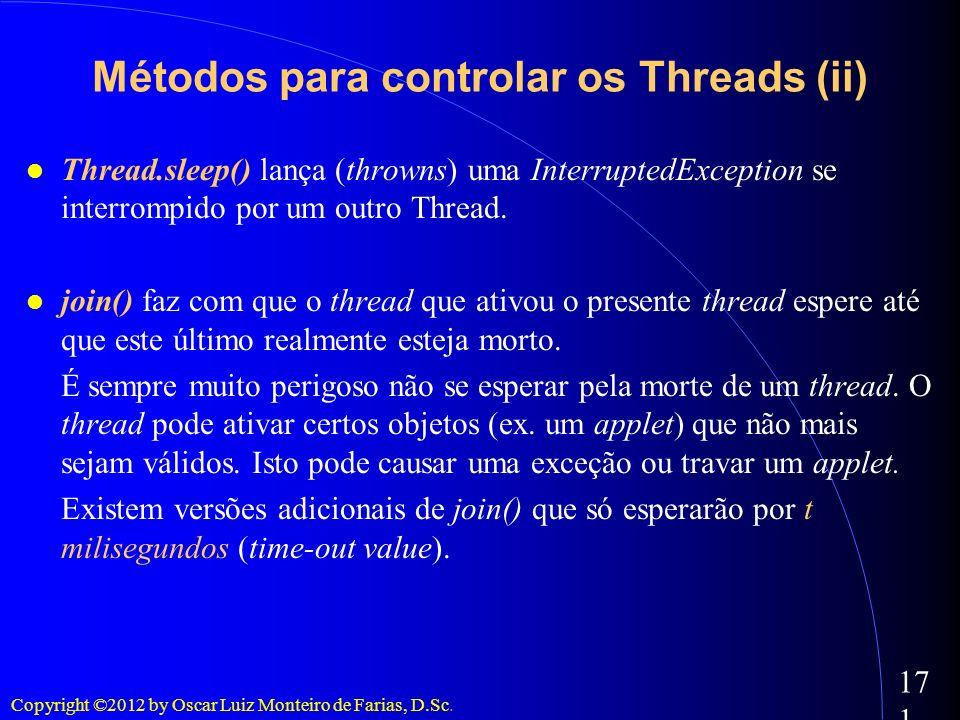 Métodos para controlar os Threads (ii)