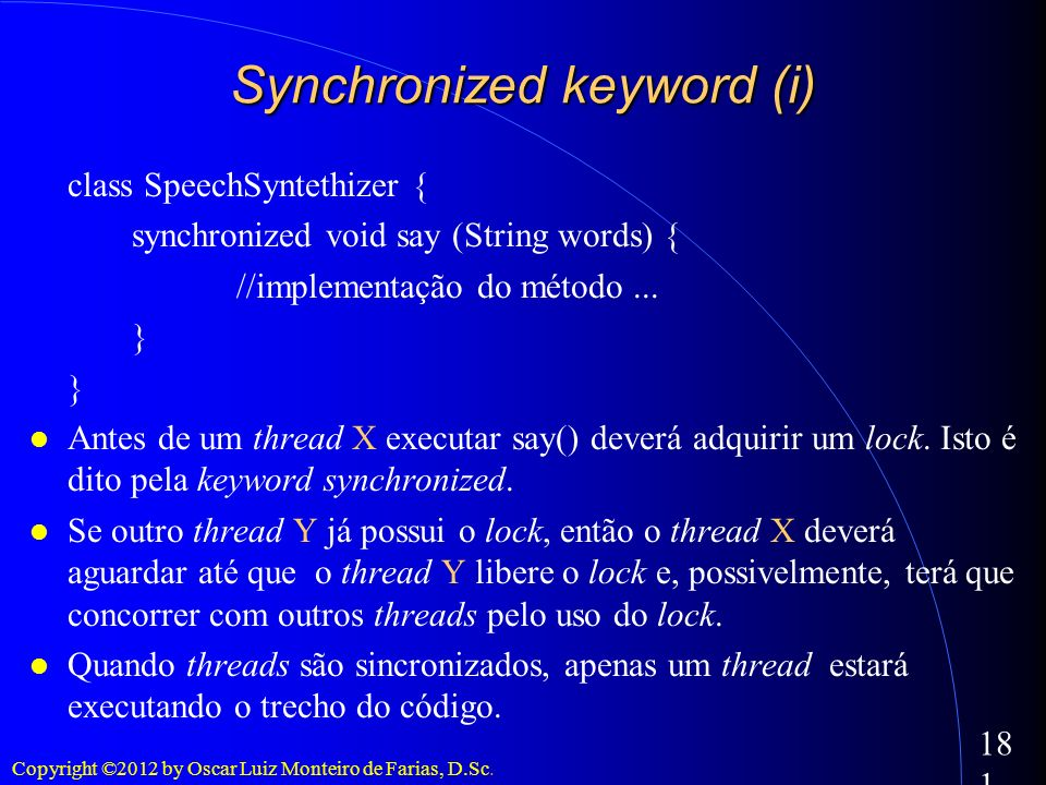 Synchronized keyword (i)‏