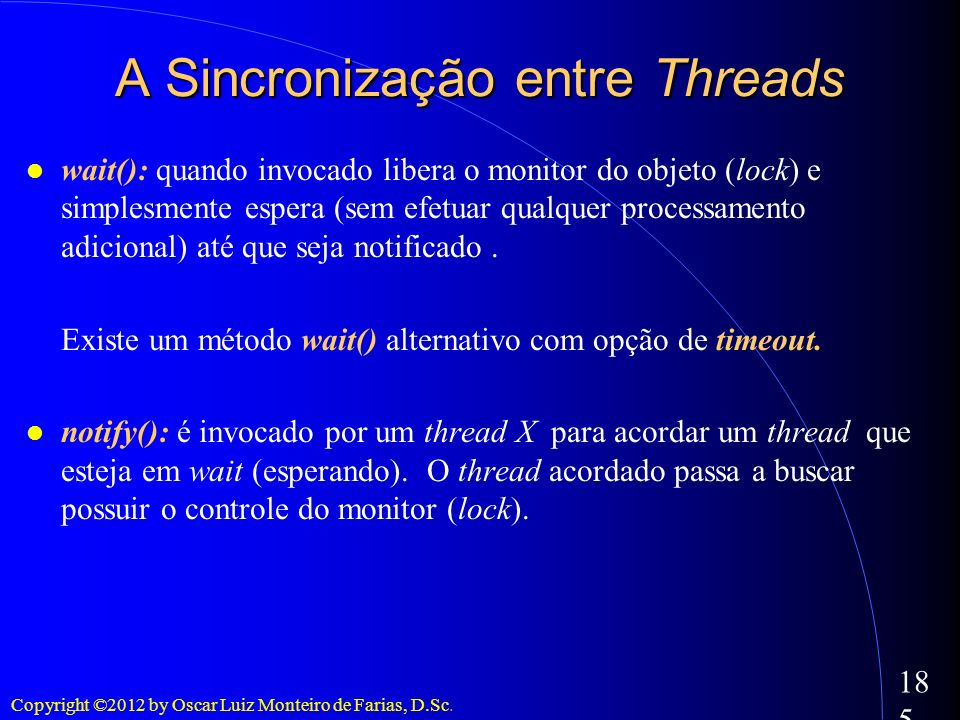 A Sincronização entre Threads