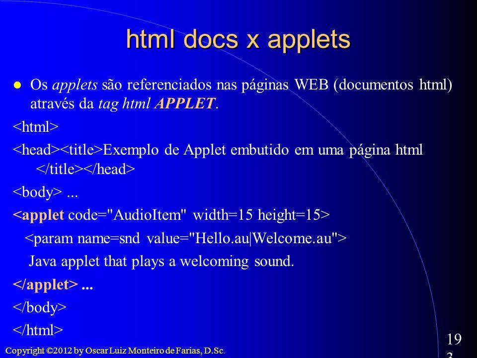 html docs x appletsOs applets são referenciados nas páginas WEB (documentos html) através da tag html APPLET.