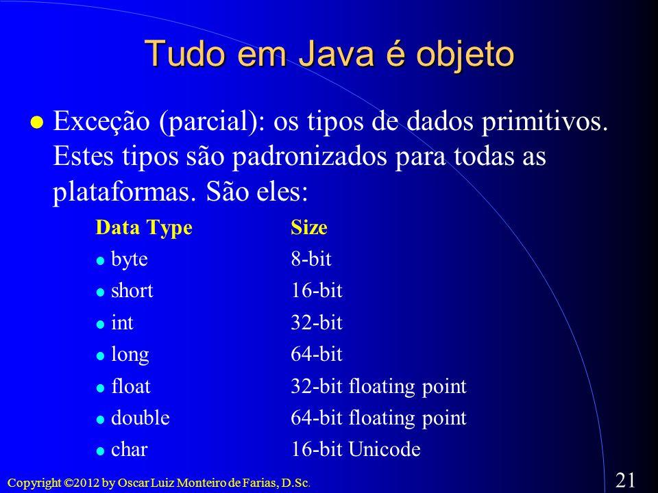 Tudo em Java é objeto Exceção (parcial): os tipos de dados primitivos. Estes tipos são padronizados para todas as plataformas. São eles: