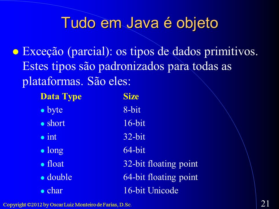 Tudo em Java é objetoExceção (parcial): os tipos de dados primitivos. Estes tipos são padronizados para todas as plataformas. São eles: