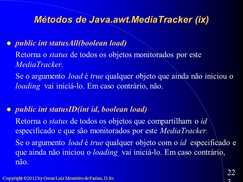 Métodos de Java.awt.MediaTracker (ix)‏