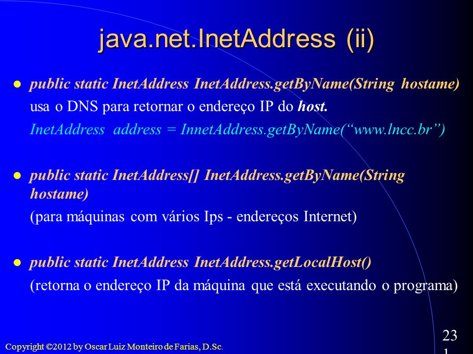 java.net.InetAddress (ii)‏
